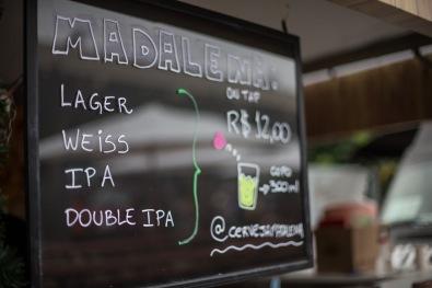 Cardápio da cervejaria Madalena