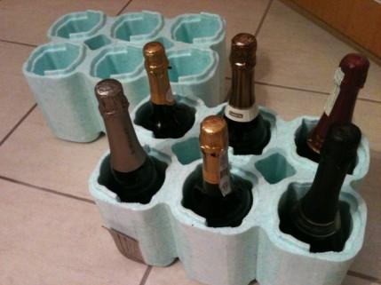 Embalagem de isopor para garrafas